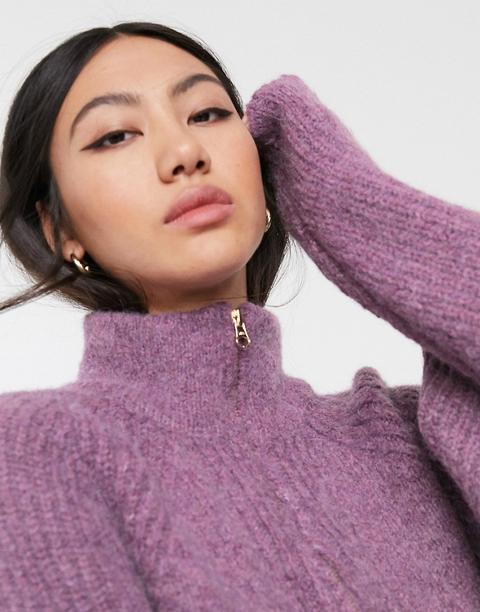 Jersey De Mezcla De Lana Con Cremallera En El Cuello De Asos White-violeta de ASOS en 21 Buttons