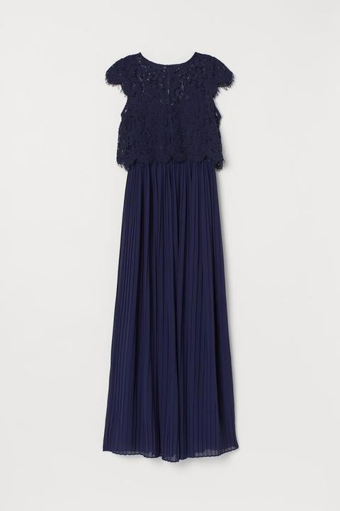 Vestido Plisado Largo - Azul de H&M en 21 Buttons