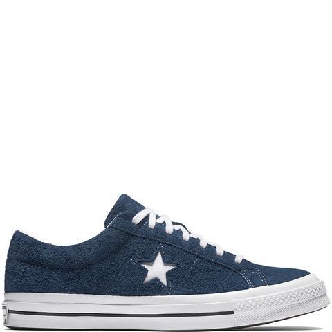 Converse One Star Premium Suede Navy, White