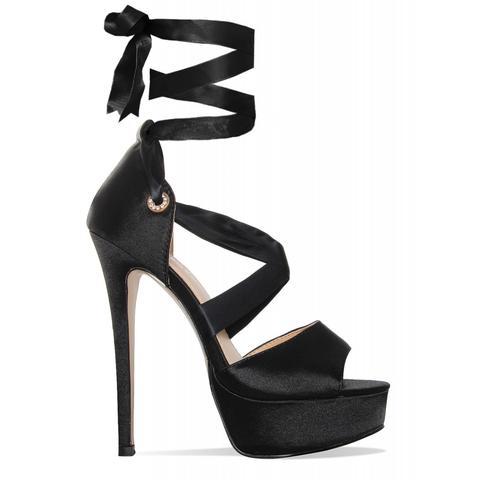 Sorelle Black Satin Lace Up Platform