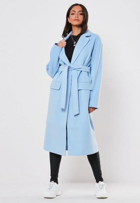 Blue Belted Formal Maxi Coat, Blue