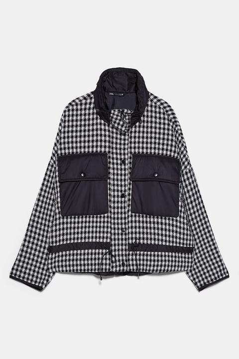 Cazadora Combinada Tweed de Zara en 21 Buttons