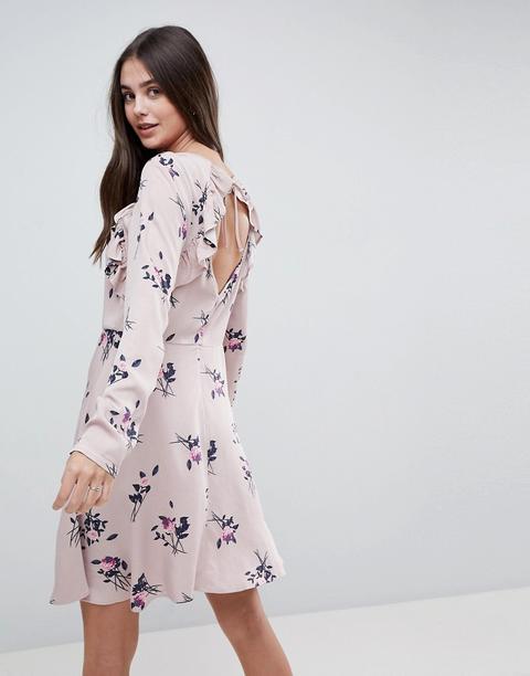Vestido Midi Floral Con Volantes En Rosa De Vila
