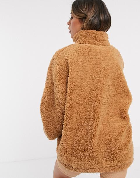 Asos Design - Veste Confort Oversize Imitation Peau De Mouton-marron