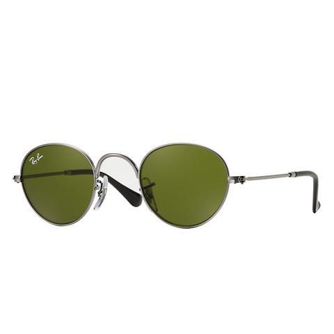 Round Junior Unisex Sunglasses Lentes: Verde, Montura: Gunmetal de Ray-Ban en 21 Buttons