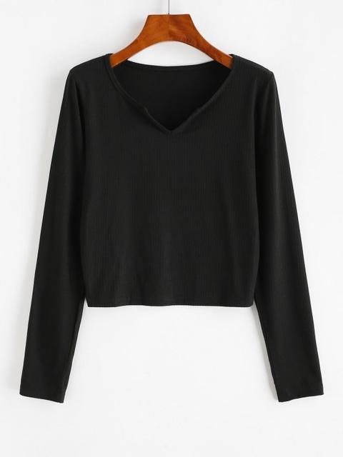 Camiseta Acanalada Con Cuello En V Black