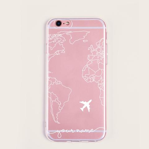 Funda De Iphone Con Patrón De Avión Y Mapa