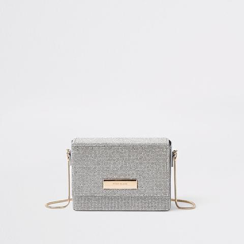 Silver Diamante Chain Mini Cross Body Bag
