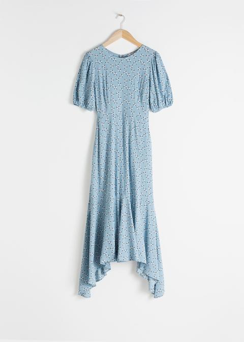 Cotton Blend Handkerchief Midi Dress