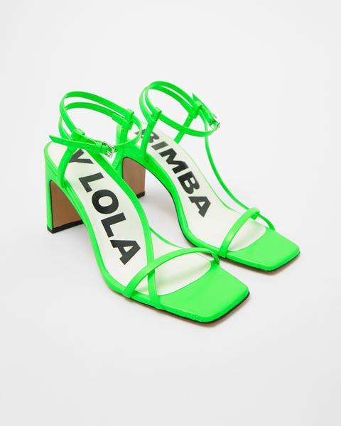 Sandalia Tacón Piel Verde de Bimba Y Lola en 21 Buttons