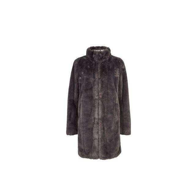 Womens Slate Longline Faux Fur Coat, Ladies Black Fur Coat Dorothy Perkins