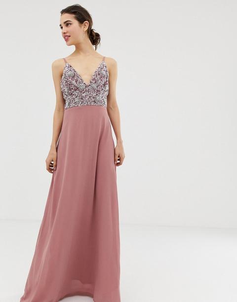 Vestido Largo De Tirantes Finos Con Falda Plisada Y Parte Superior Adornada De Angeleye de ASOS en 21 Buttons