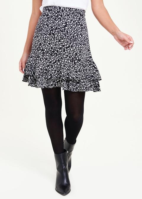 Floral Print Frill Hem Skirt
