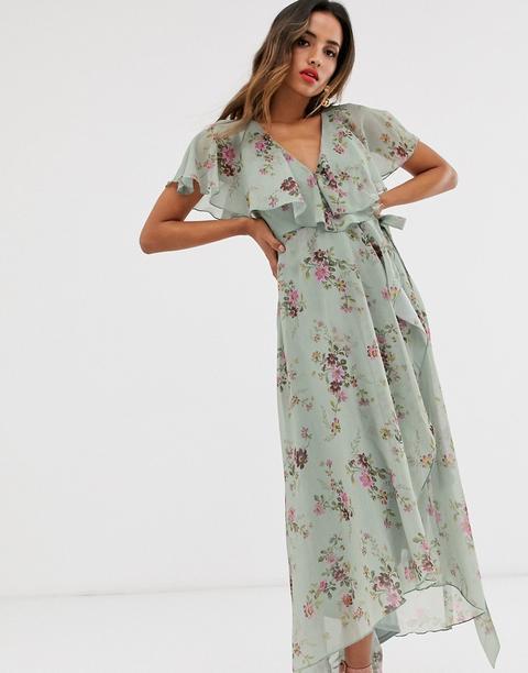 Vestido Largo Color Huevo De Pato Con Estampado Floral Y Detalle De Capa En La Parte Posterior De Asos Design de ASOS en 21 Buttons