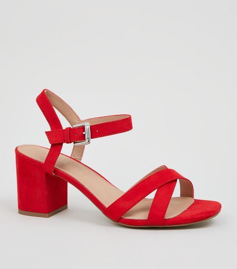 red low block heel sandals