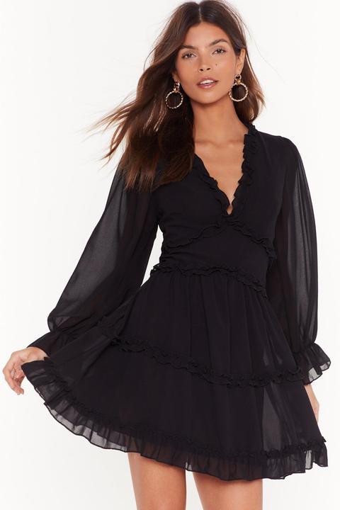Dressing Gown Courte Volantée À Manches Bouffantes Salut Princesse - Noir - M/l, Noir