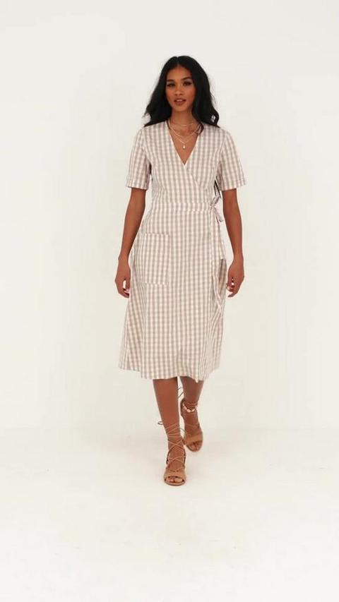 Cream Gingham Wrap Over Midi Dress, Cream
