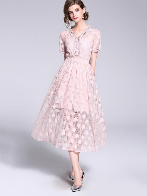 Vestiti Eleganti Rosa.Elegante Punti Di Polka Tagliato Rosa Vestiti From Shein On 21
