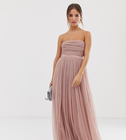 Vestido Largo Palabra De Honor De Tul Con Ribetes De Satén En Rosado With Love De Anaya de ASOS en 21 Buttons