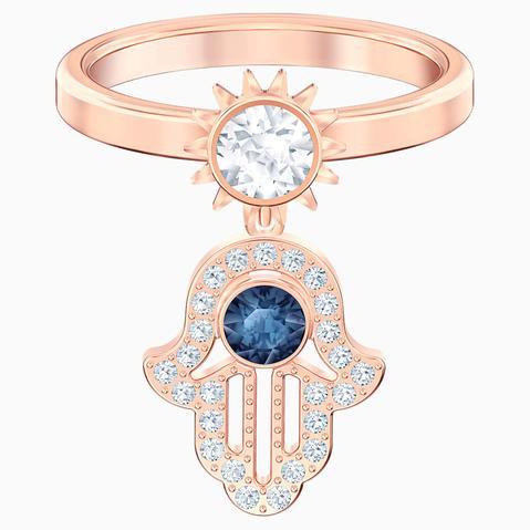 Anillo Con Motivo Swarovski Symbolic, Azul, Baño En Tono Oro Rosa de Swarovski en 21 Buttons
