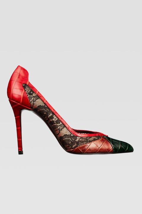 Zapato Tacón Encaje Estampado Animal