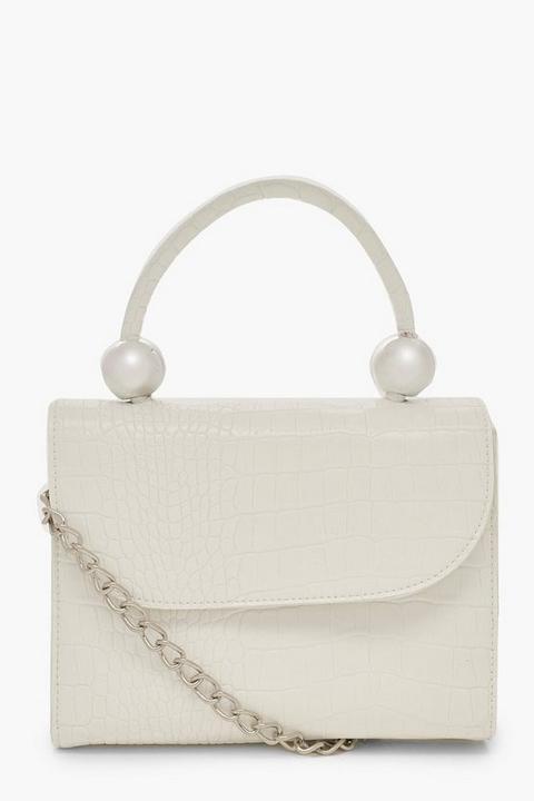 Womens Mini Croc & Bead Structured Cross Body Bag - White - One Size, White