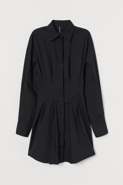 Vestido Camisero De Algodón - Negro