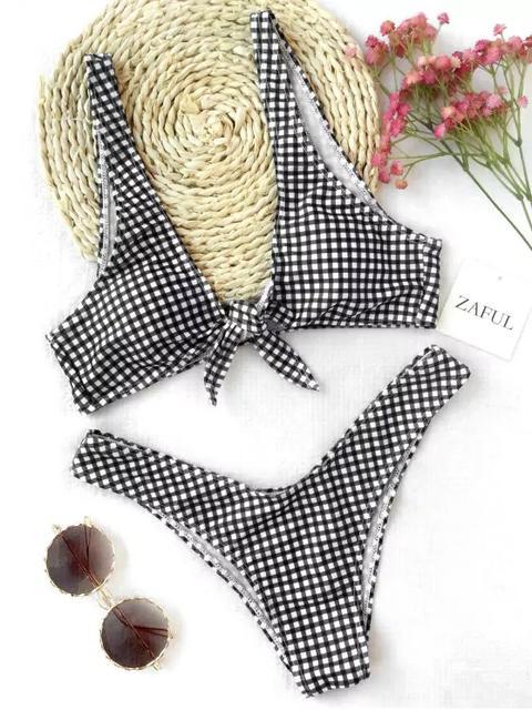 Conjunto De Bikini De Tartán Con Lazo Anudado Blue And White White And Black White And Green White And Yellow Grey And White Red And White