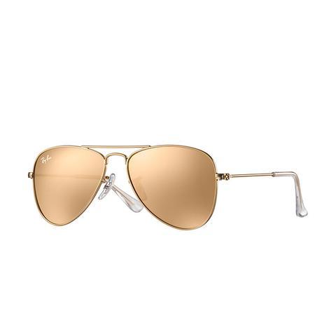 Aviator Junior Unisex Sunglasses Lentes: Rosa, Montura: Oro de Ray-Ban en 21 Buttons
