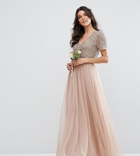 Vestido Largo De Dama De Honor En Tul Con Cuello De Pico Y Delicadas Lentejuelas A Tono De Maya-rosa