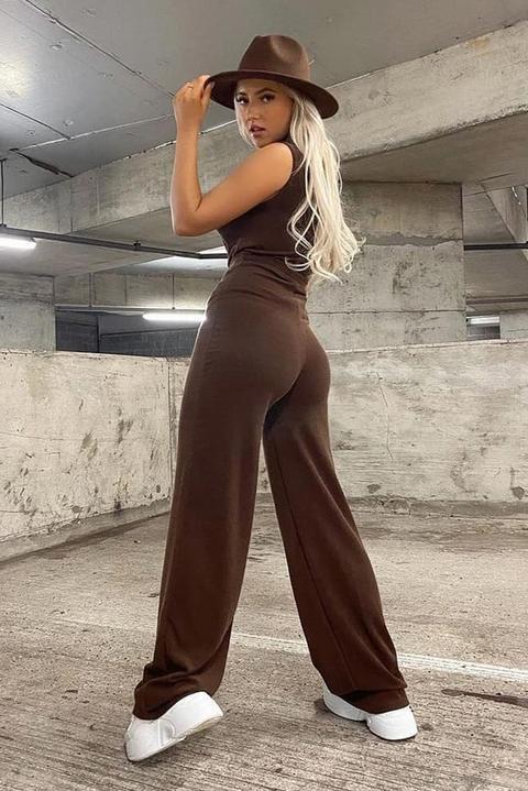 Chocolate Soft Rib Wide Leg Trouser