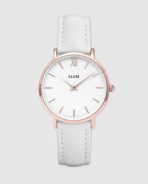 Cluse - Reloj De Mujer Minuit Cl30056 De Piel Blanco de El Corte Ingles en 21 Buttons