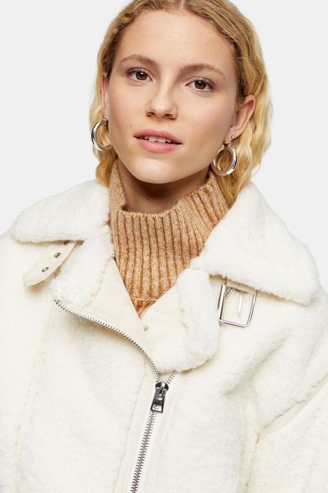 Womens Cream Teddy Biker Jacket - Cream, Cream