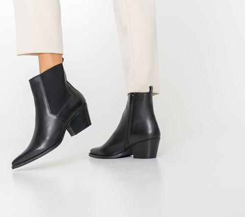 Boots Texto Noir En Cuir Esprit Western
