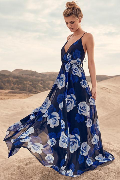 Only In Dreams Navy Blue Floral Print Maxi Dress - Lulus de Lulus en 21 Buttons