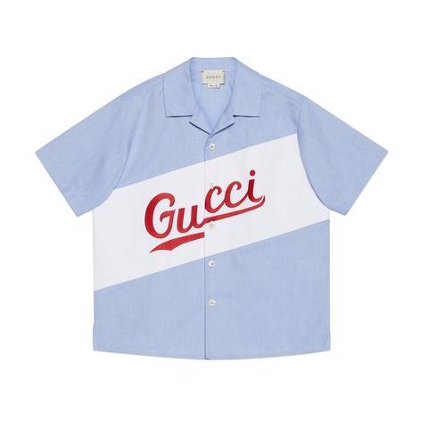 Camisa Infantil Algodón Oxford Con Logo Gucci