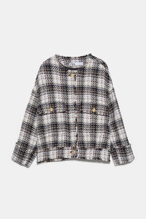 Chaqueta Tweed Cuadros de Zara en 21 Buttons