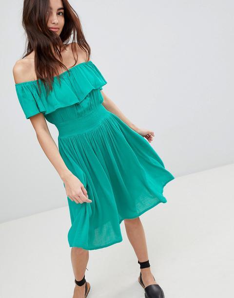Brave Soul - Petal - Vestito Midi Stile Bardot Con Volant - Verde