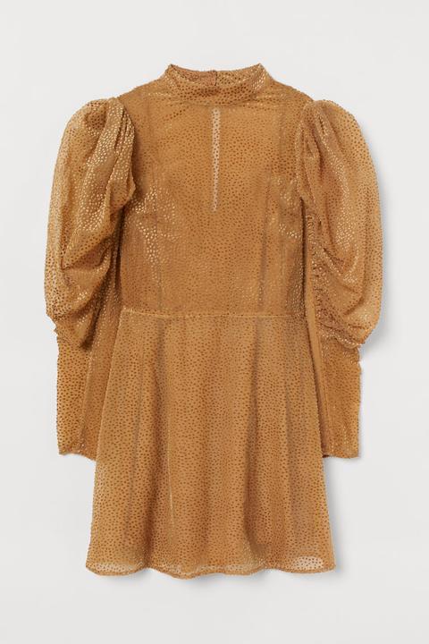 Vestido Con Mangas Abullonadas - Naranja de H&M en 21 Buttons