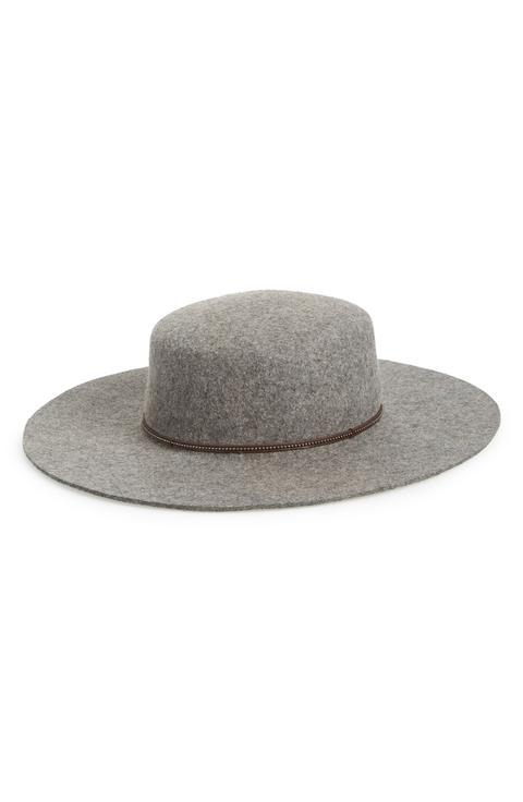 Santa Fe Belted Wool Felt Boater Hat