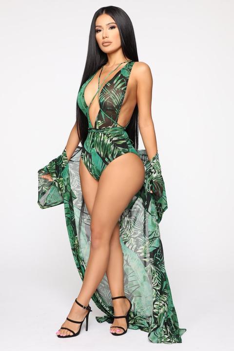 c101ee1bcbc Palm Princess 2 Piece Sunsuit Set - Black/green from Fashion Nova on 21  Buttons