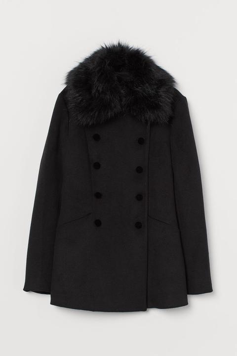 Abrigo Con Pelo Sintético - Negro de H&M en 21 Buttons