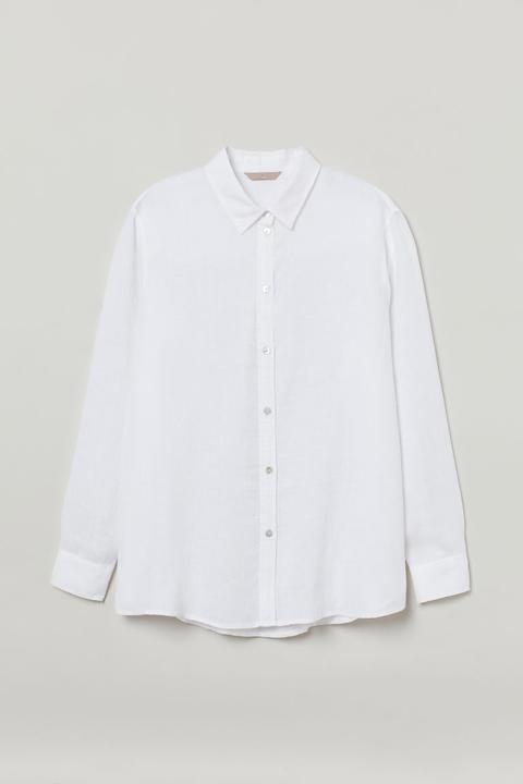 H & M+ Camisa De Lino - Blanco