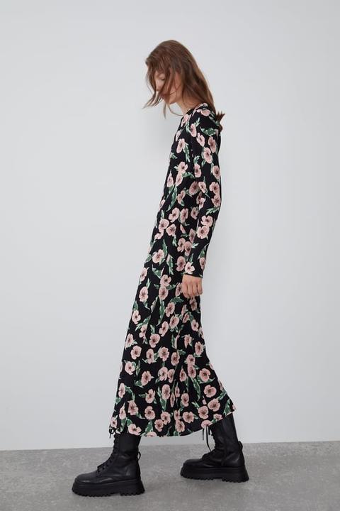 Vestido Largo Estampado Flores