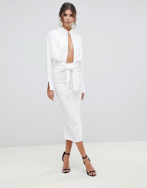 Vestido Midi Con Camisa Cruzada De Manga Larga De Asos Design-blanco