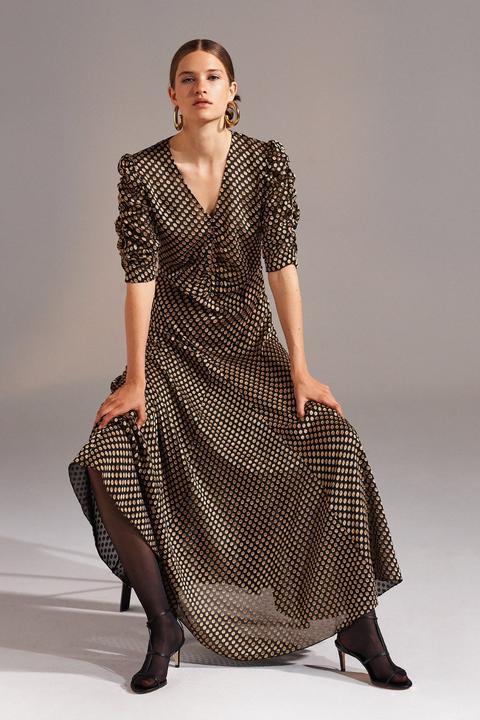 Vestido Largo Doty Con Lunares Y Volantes - Antik Batik