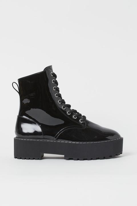 Botas De Plataforma - Negro