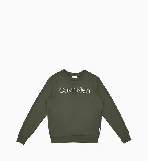 Felpa In Cotone Biologico Con Logo de Calvin Klein en 21 Buttons
