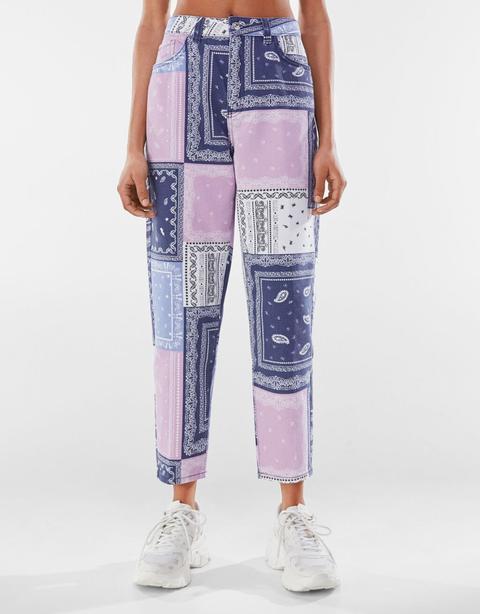 Pantalon Mom Sergé Patchwork