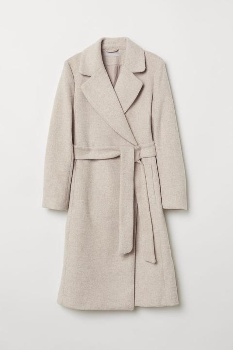 Abrigo En Mezcla De Lana - Beis de H&M en 21 Buttons